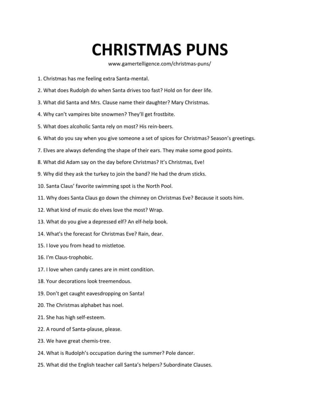 Downloadable and printable jpg/pdf list of Christmas puns