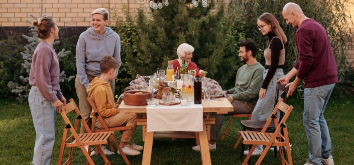 Family having a sumptuous meal in the garden