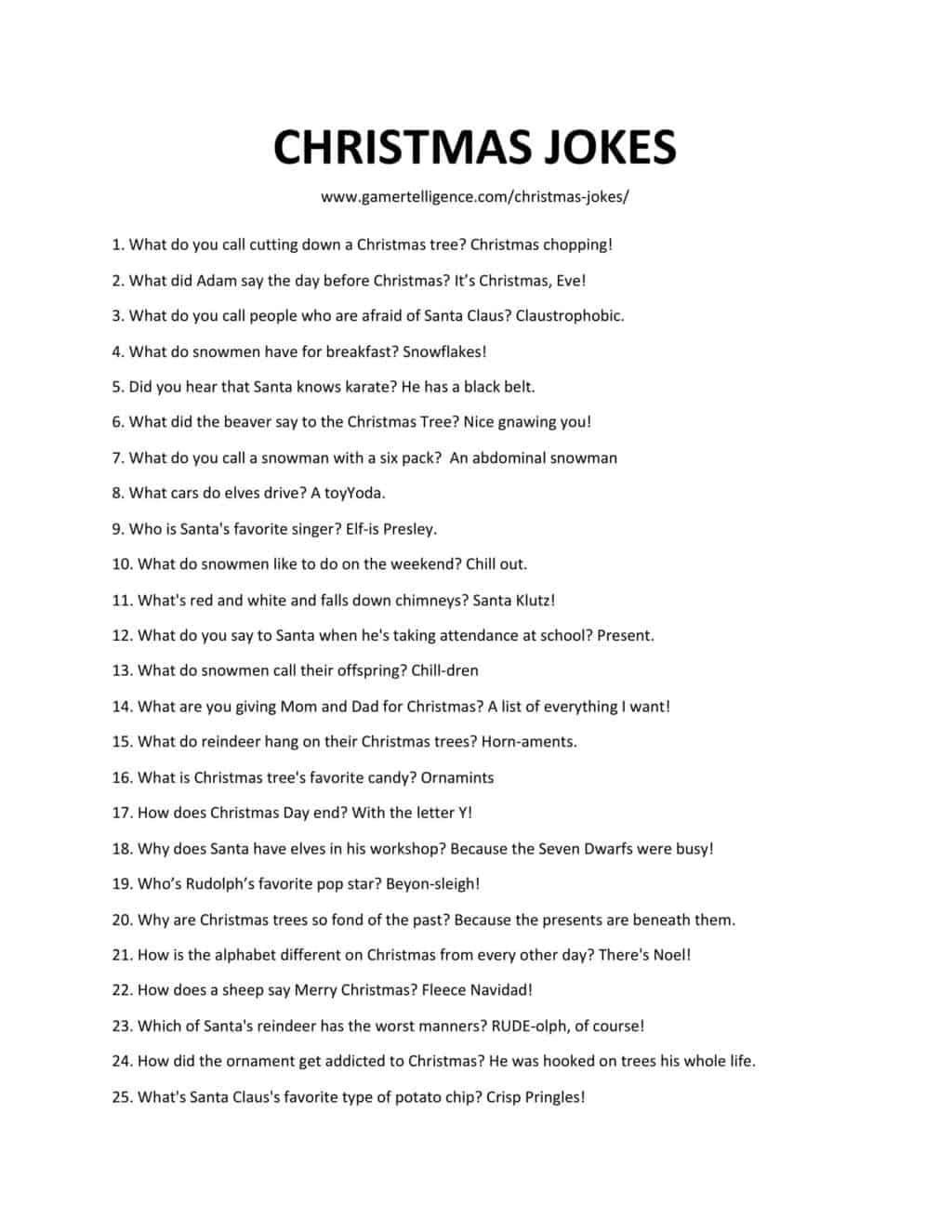 Downloadable and printable list of Christmas jokes as jpg or pdf