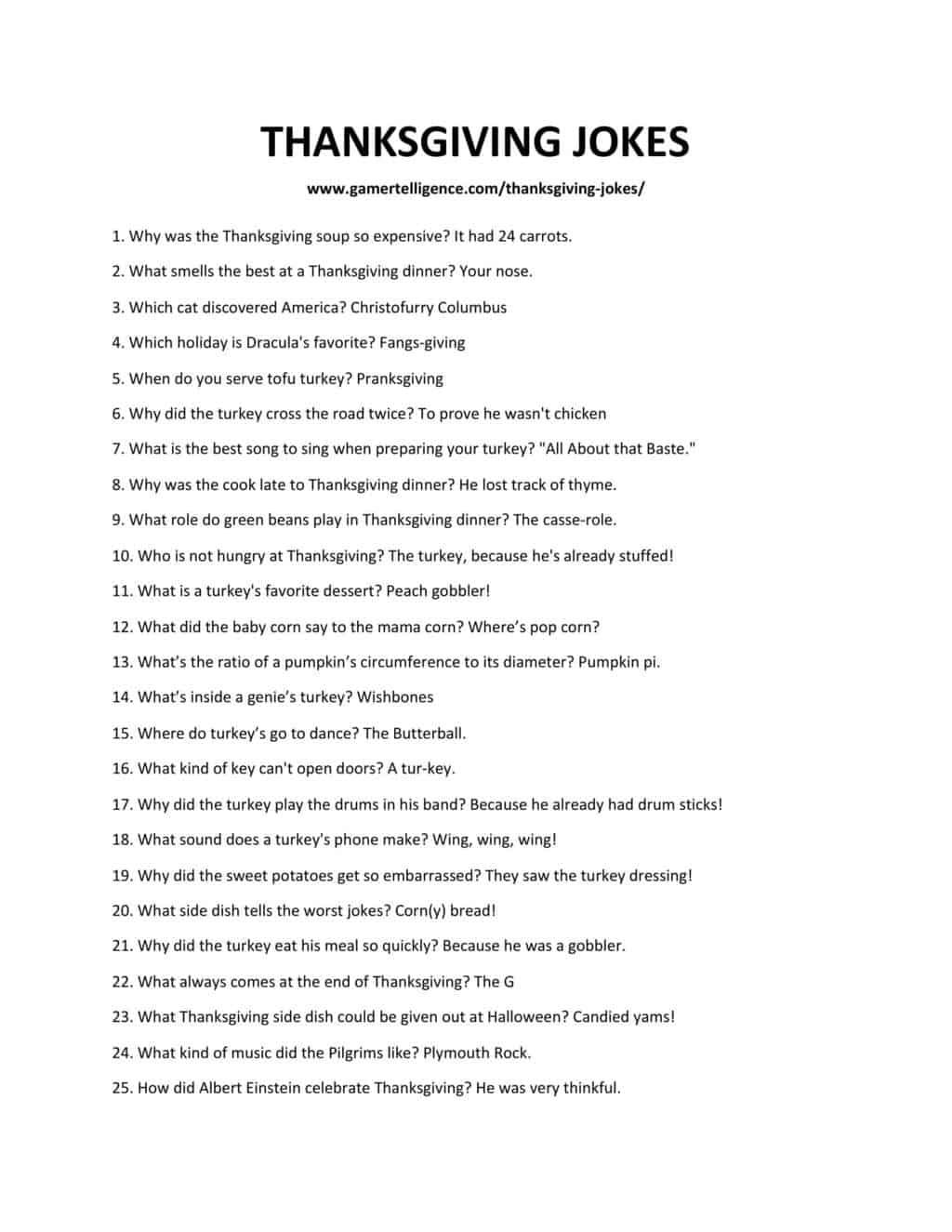 Downloadable list of jokes