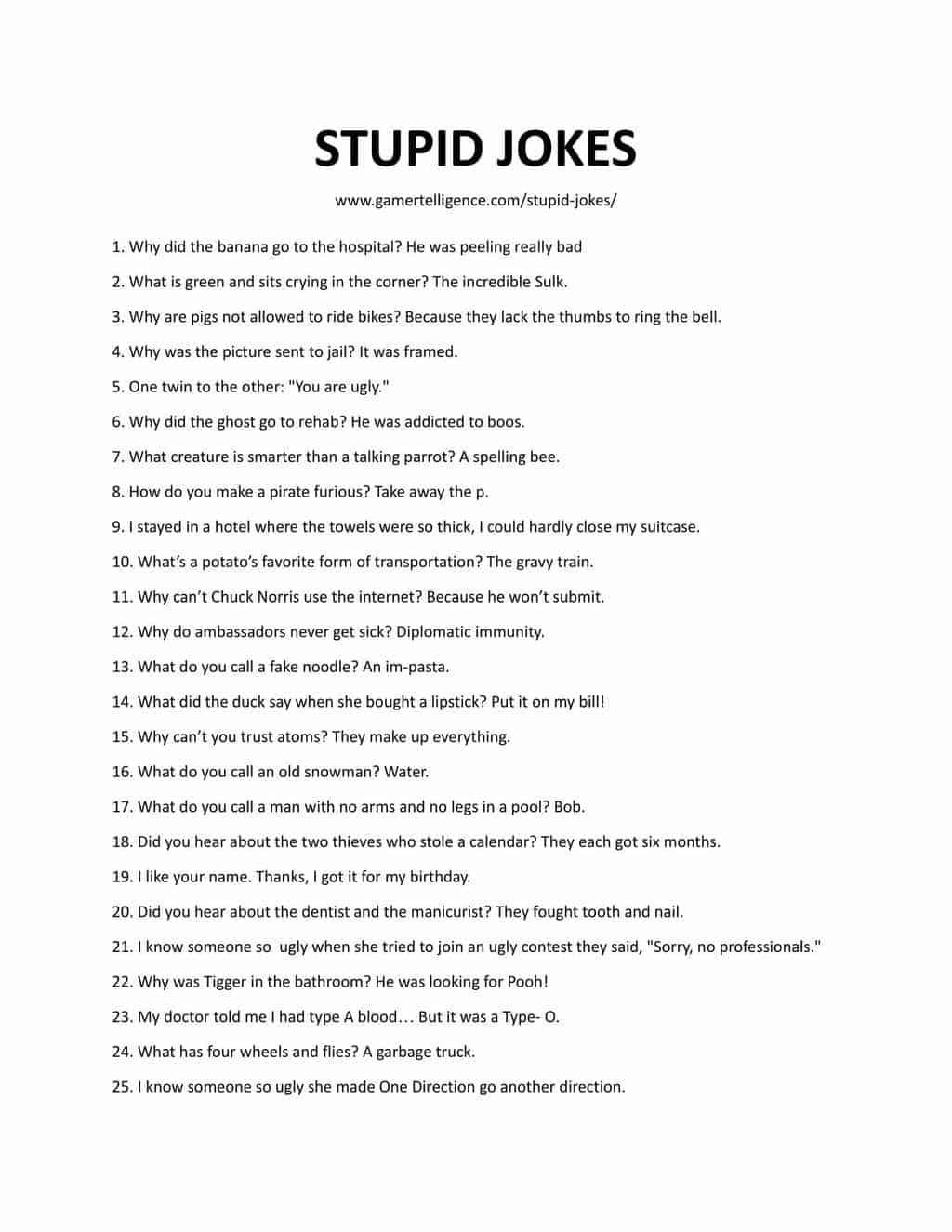 Downloadable and Printable List of Stupid Jokes