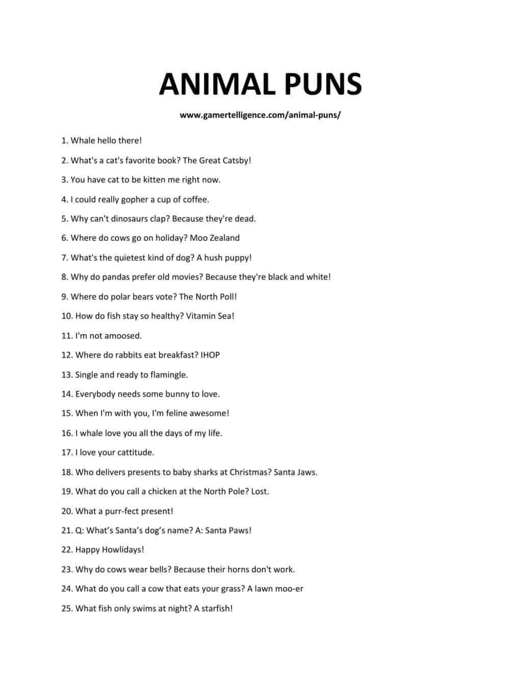 A downloadable list of puns