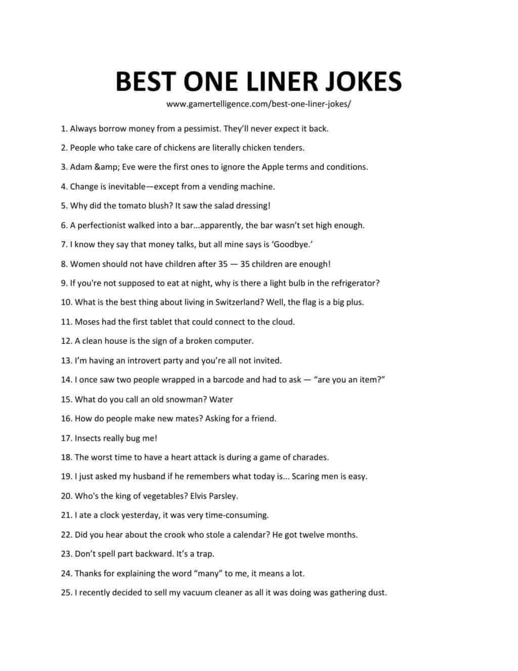 Downloadable and printable list of best one liner jokes as jpg or pdf