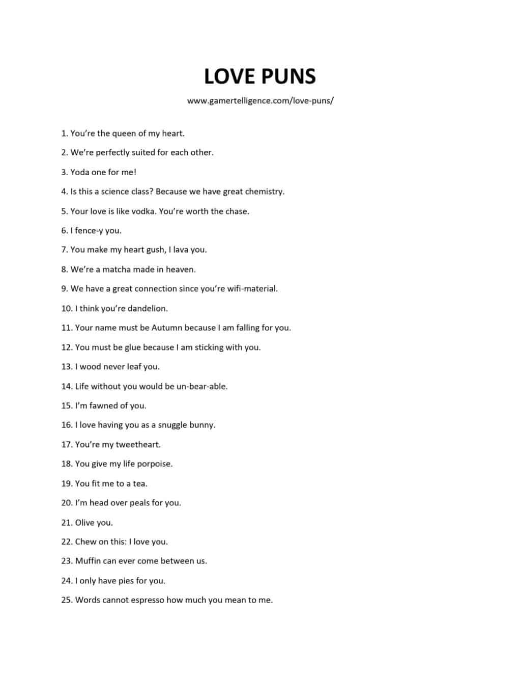Downloadable and printable list as pdf or jpg