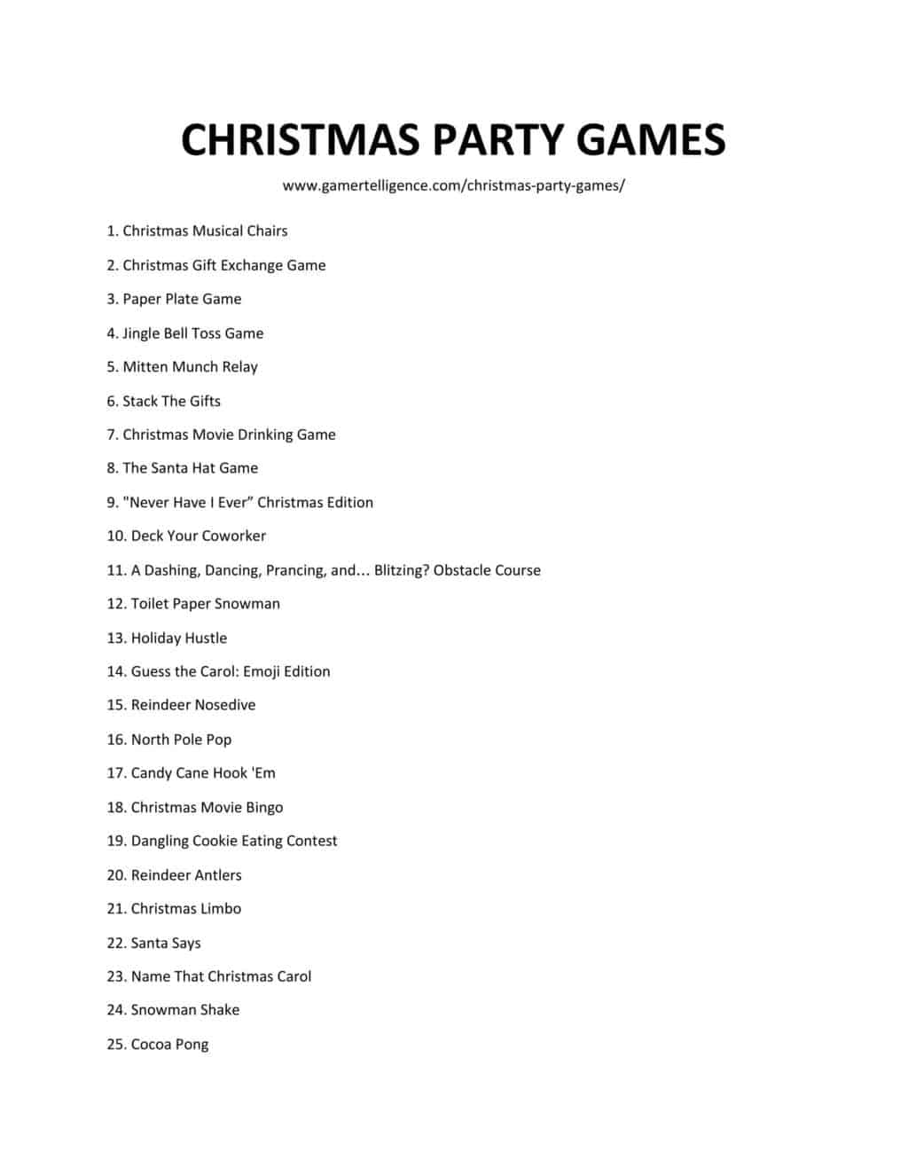 Downloadable and Printable list of Christmas Party Games as jpg or pdf