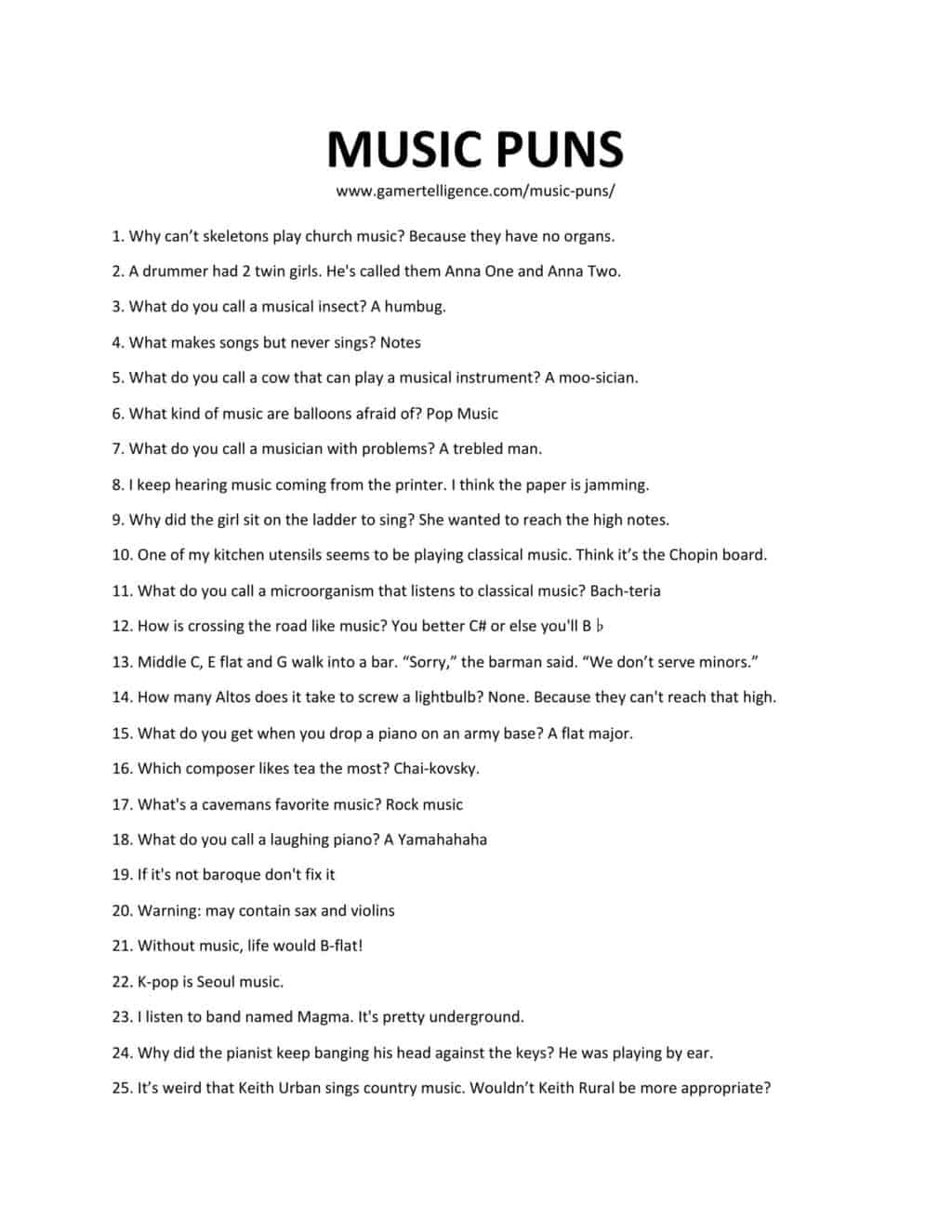 Downloadable and printable list of music puns as jpg or pdf