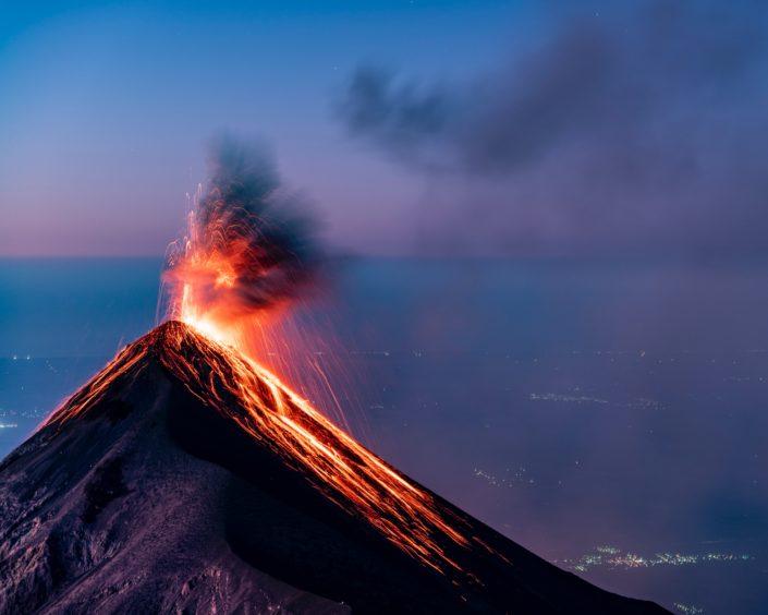 Volcano erupting with lava.