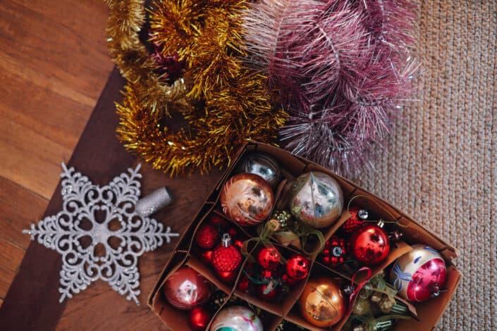 christmas decorations inside a box