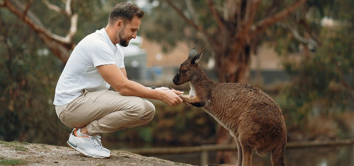 A man holding hands with a Kangaroo