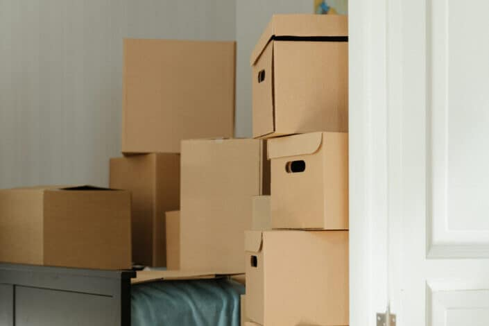 stack of brown boxes