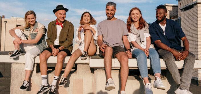 six people having fun under the sun