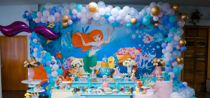 a Little Mermaid-themed children's party food table set-up