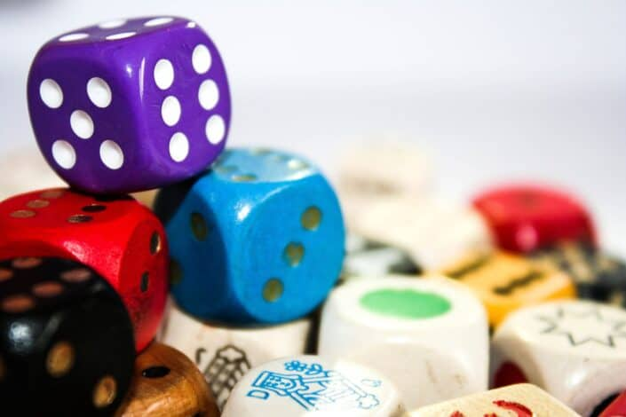 different colored dice