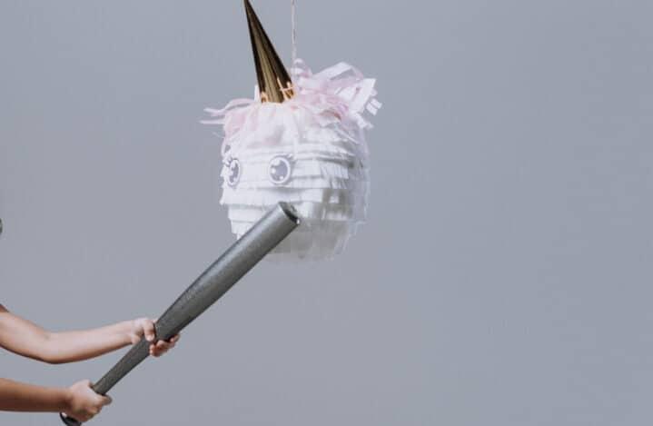 baseball bat hitting unicorn pinata
