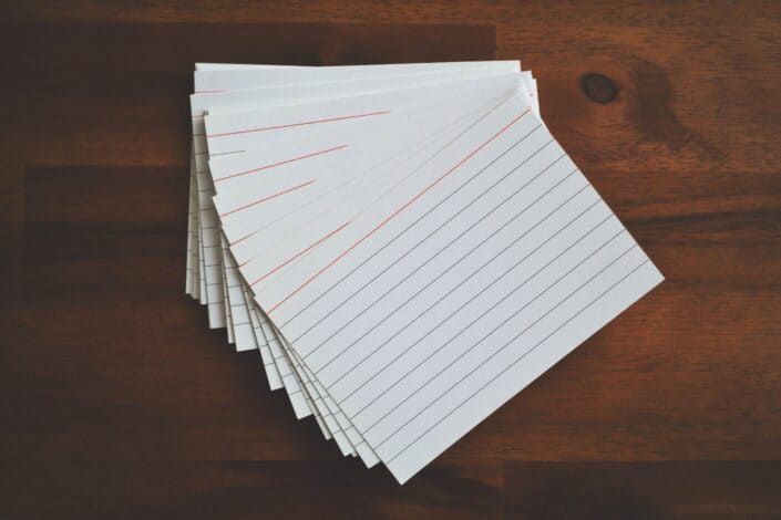 a stack of blank flash cards