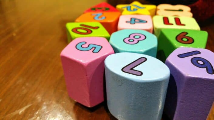 Colored blocks with numbers