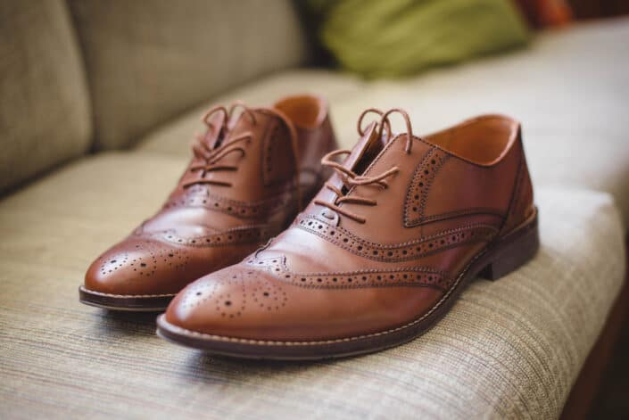 pair of stylish brown leather shoes