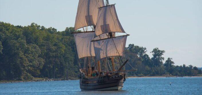 pirate ship in an open ocean