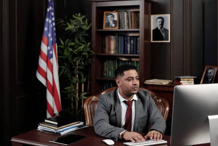 politician working in his desktop