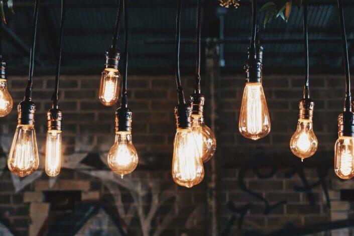 Variety of light bulbs hanging